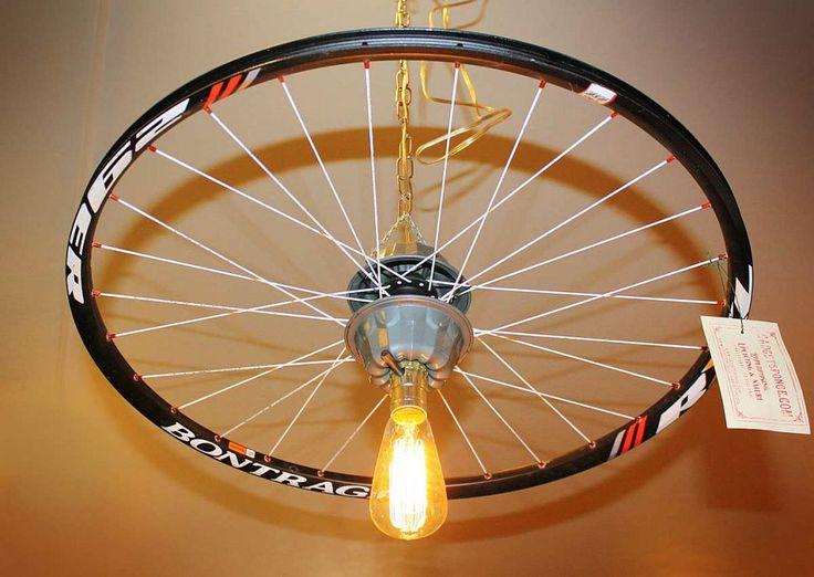 Repurposed Upcycled Bicycle Rim Pendant Hanging Light