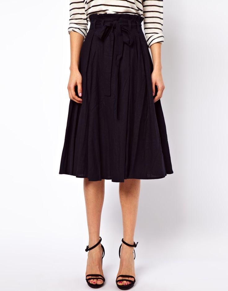 ASOS | ASOS Linen Midi Skirt with Belt at ASOS