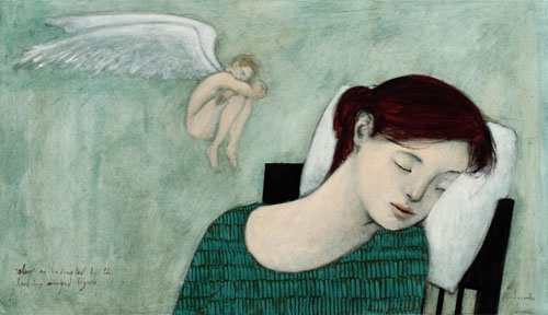 """Kershisnik, """"Sleep"""" as indicated by the Hovering Winged Figure"""