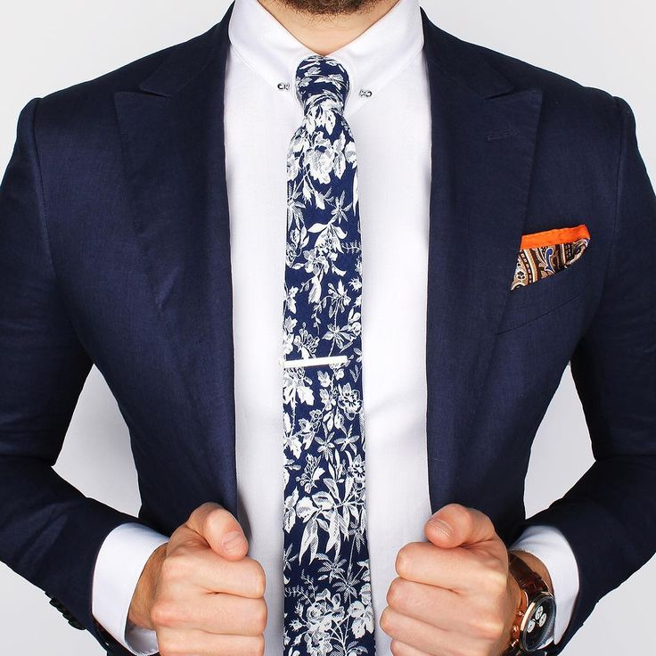 """""""The Cobalt blue flower tie and Orange paisley ps over the new Herringbone collar-bar shirt   What's your thoughts on this look?  www.Grandfrank.com"""""""