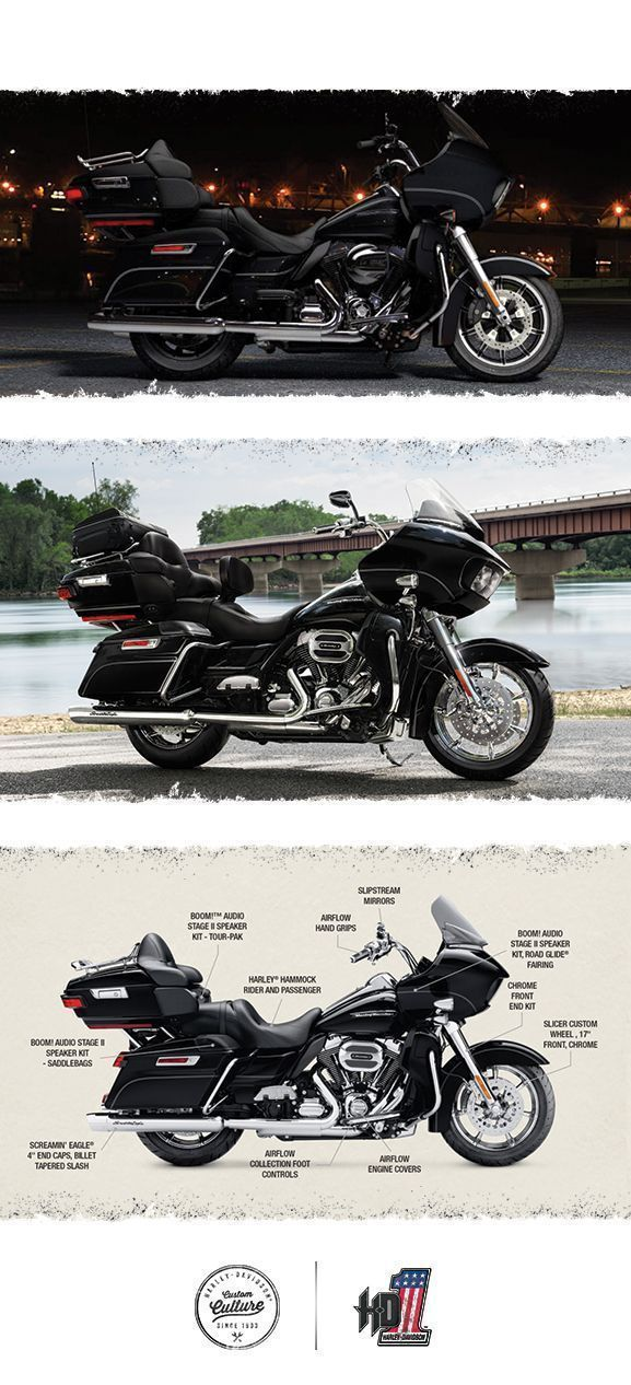 This one combines our ultimate wind-splitting frame-mounted fairing with the ultimate in mile-eating comfort and eye-popping custom style. | 2016 Harley-Davidson CVO Road Glide Ultra #harleydavidsonroadglide2016 #harleydavidsonroadglideultra #harleydavidsonroadglidecvo