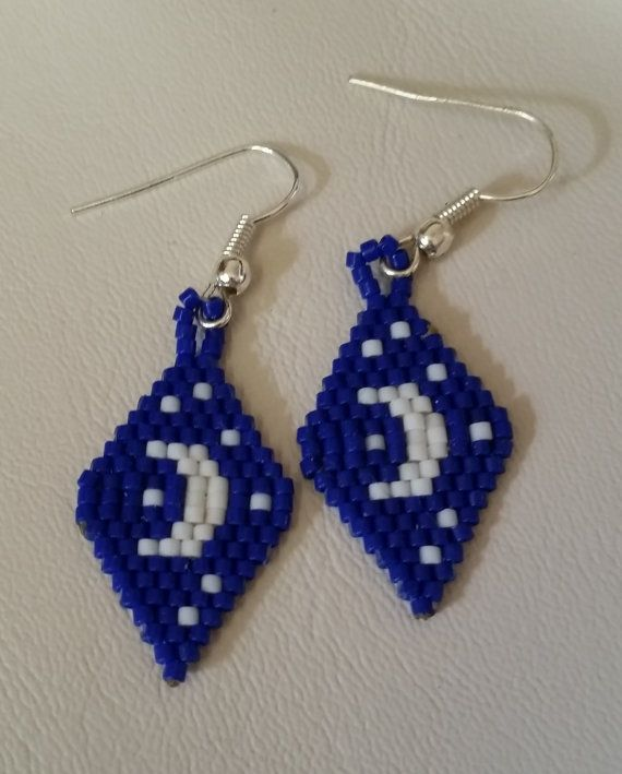 Native American Beaded Crescent Moon Earrings, Delica Beads, Brick Stitch, Blue, White