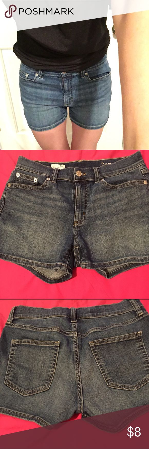 GAP Jean Shorts size 25 These shorts have been worn a few times, but have lots of life left! The gap logo has worn off (it was gone after wearing it twice). Size 25r, but I typically wear a 27 and they fit but are a little bit tight. GAP Shorts Jean Shorts
