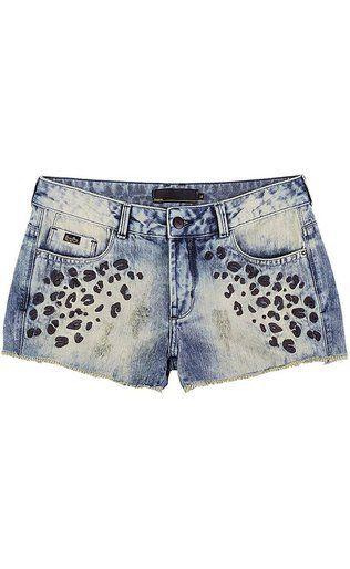 Shorts Jeans Feminino Na Base Quadradinho Com Bordado De Animal Print