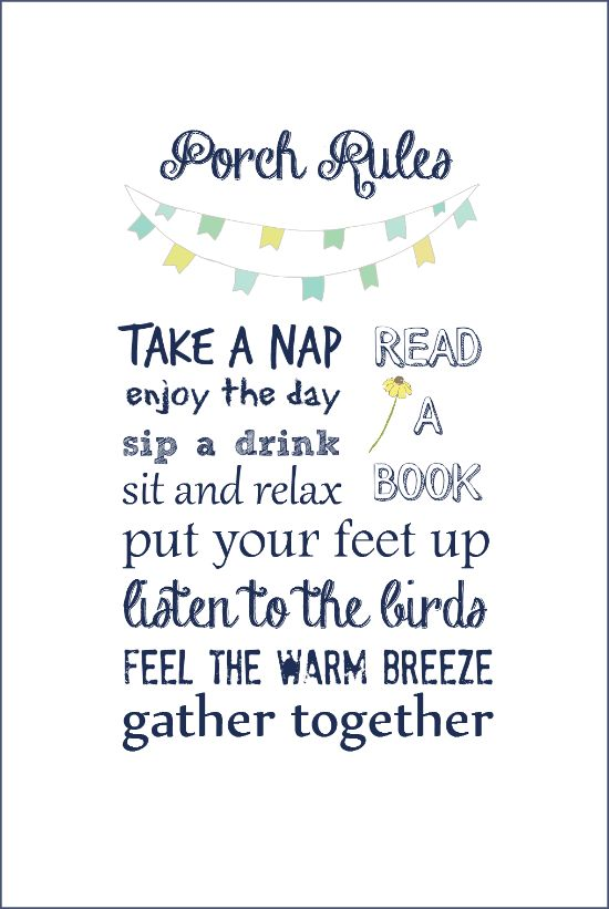 Porch Rules Free Printable   On Sutton Place
