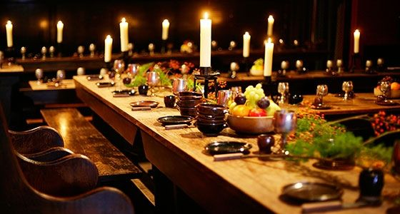 Medieval Banquet Feast Table Setting Great Hall Dining
