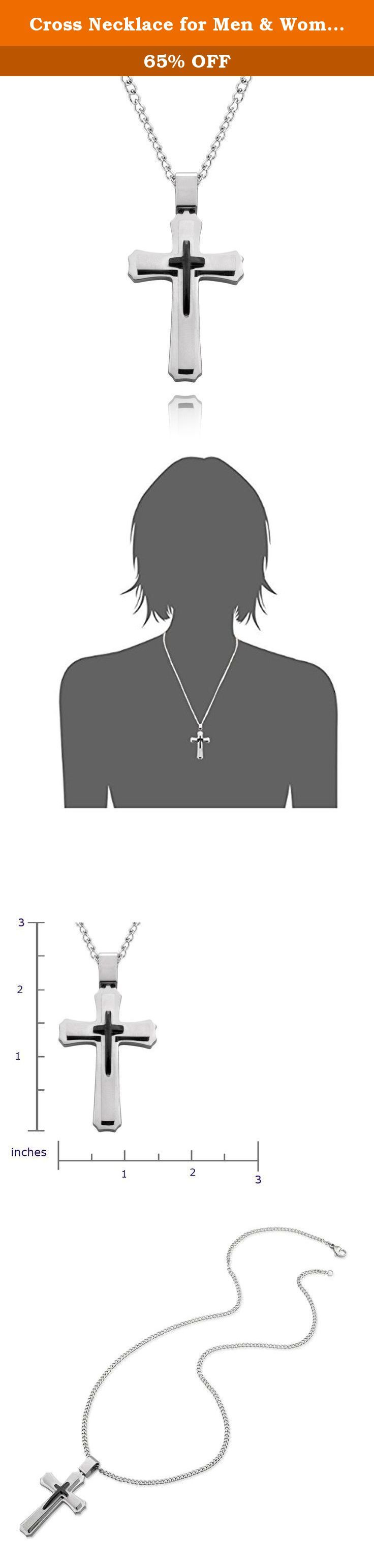 Cross Necklace for Men & Women with Large Pendant and 24 Inch Chain (Silver & Black Tone). Both cross and chain are made from stainless steel. This superior grade of steel does not rust or corrode over time and maintains its lustre even with regular usage. The Pendant measures 1.9 height x 1.2 width x 0.2 thick. The stainless steel chain is 24 inches in length with a lobster claw fastener. The exquisite large men's cross pendant is solid and 3 dimensional; the overall effect is a tribute…