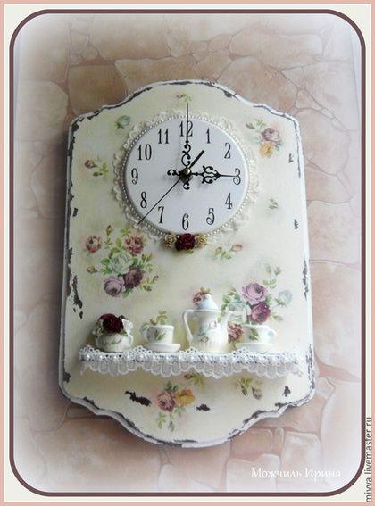 """Часы шебби шик с полочкой """"Шебби розочки"""" Melange magasin. Можчиль Ирина"""