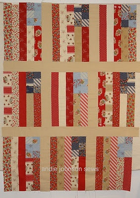 """Uncle Sam's Quilt--uses jelly roll from Moda (I think) """"American Banner Rose"""""""