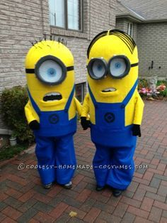 """Here's how I made these Minion costumes - as is customary in our house, early October brings about the conversation of """"What are we going be for Hal..."""