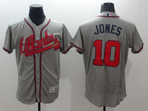 Braves  10 Chipper Jones Grey Flexbase Authentic Collection Stitched MLB  Jersey 72d7610b6
