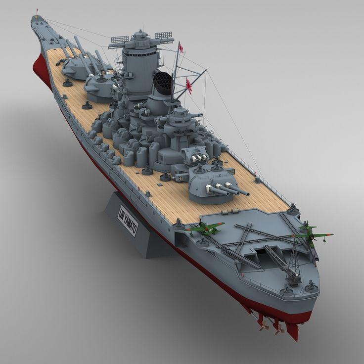 3d model ijn yamato 3d model render pinterest d - Yamato render ...