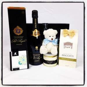 Luxury Pol Roger Vintage Gourmet Gift for New Parents. it's has everything a proud Dad could give a brand new Mum! Click here today! $199 http://www.justcorporate.net.au/gifts/all-gifts/vintage-bubs/