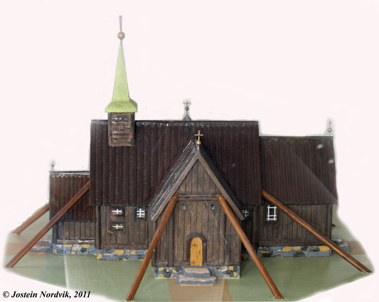 Model of the medeival St. Olaf church in Syvde. It vas torn down and replaced by a new wooden churh at a different site in 1837.