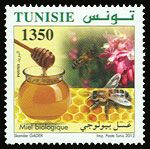 Subject  Organic Farming In Tunisia : The Honey  Number  1914  Size  36x36 mm  Issue Date  23/03/2012  Number issued  500 000  Serie  Ordinary  Printing process  offset  Value  1350 millimes  Drawing  Skander Gader