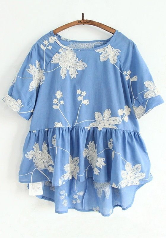 Denim Blue Big Flowers Embroidery Short Sleeve Blouse