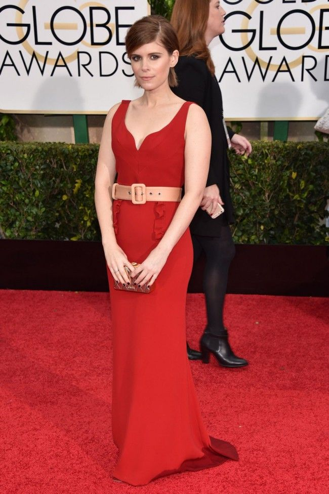 Kate Mara 2015 Golden Globe Awards Red Chiffon Evening Dress - TheCelebrityDresses