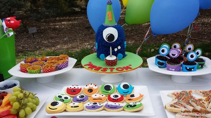 Monster cake and cookies for Preston's 1st birthday party