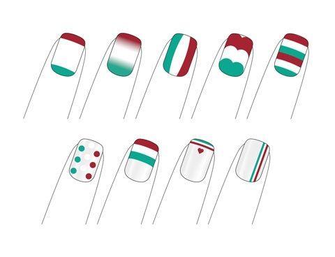 Nail art con la bandiera italiana