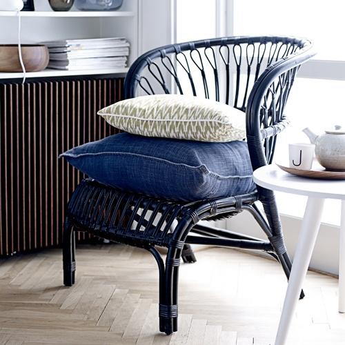 fauteuil bas en rotin noir bloomingville deco pinterest. Black Bedroom Furniture Sets. Home Design Ideas