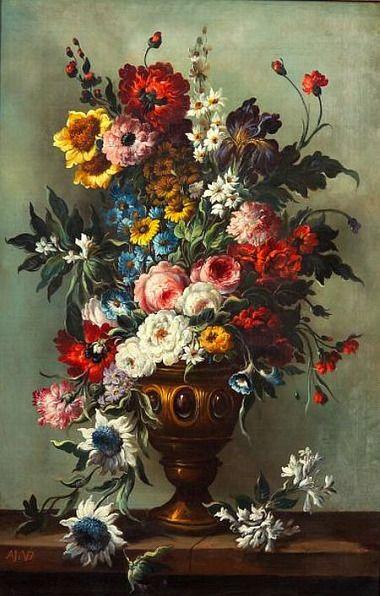 Adrien Joseph Verhoeven-Ball  Floral Still Life in Golden Urn  19th century