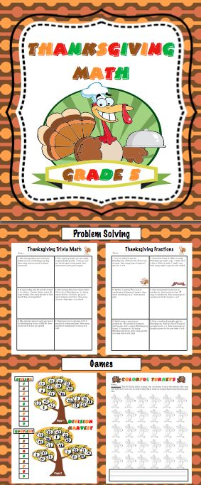 Thanksgiving Math Fifth Grade (Aligned to the Common Core) Your students will have a blast with these Thanksgiving math games and activities! Available for 3rd, 4th, and 5th grades. $