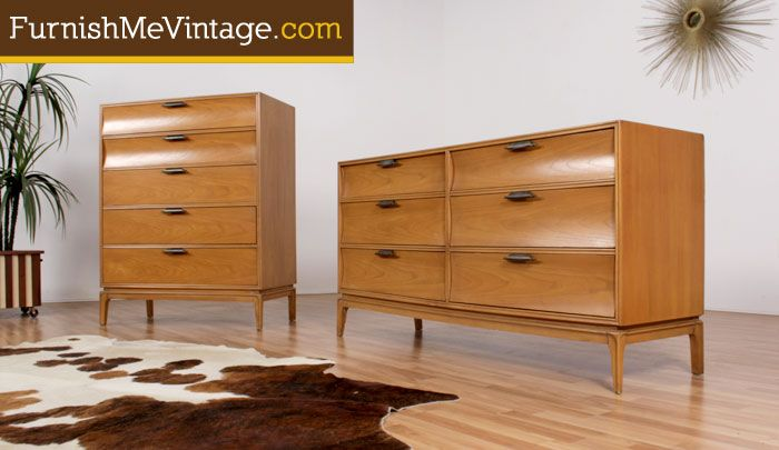 lane mid century bedroom furniture set of 2 vintage lane blond