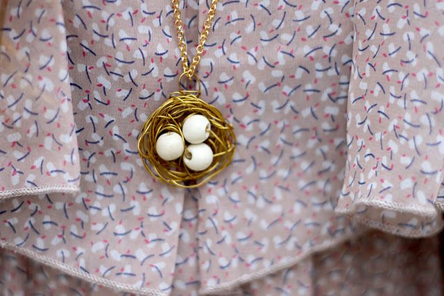 bird nest diy necklace from Sincerely Kinsey blog