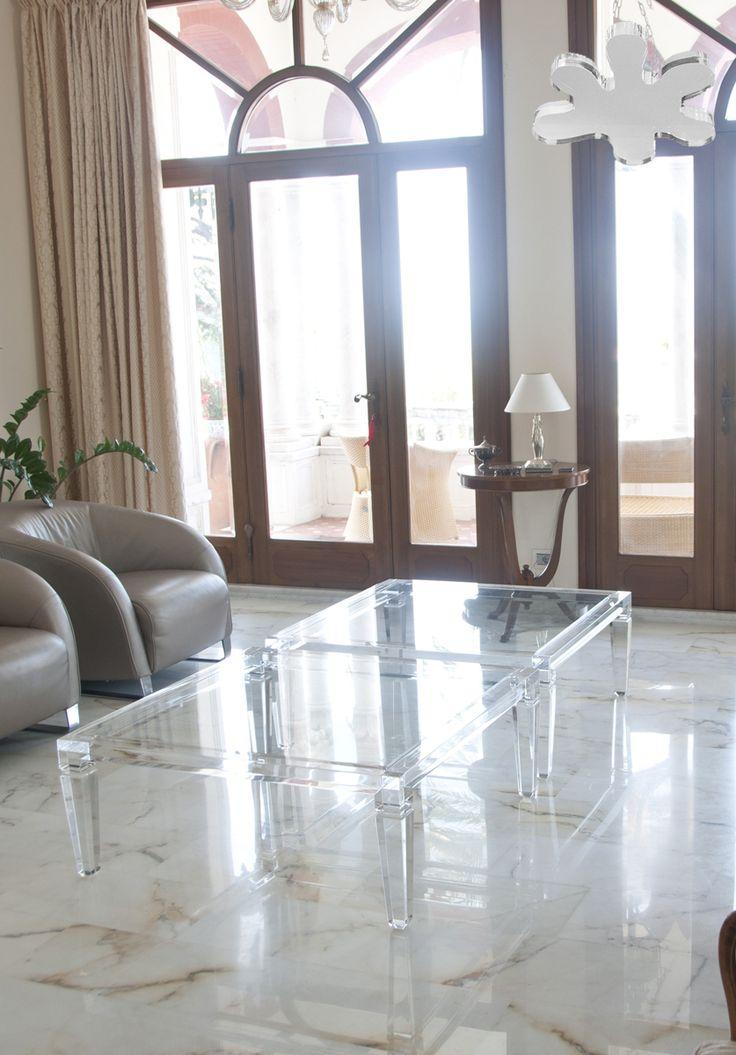 Acrylic interiors - Lucite Acrylic coffe table - TAVOLINI DA SALOTTO IN PLEXIGLASS | Tavolo trasparente in plexiglas 01A.mod. LV1 | Tavolini in plexiglass cm.100 x 100 h.40 - telaio sp.mm.50 - gambe sez.mm.70 #lucite #design #home