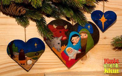 Huisvolkleur: Kerst hart Josef en Maria, Herder, Ster