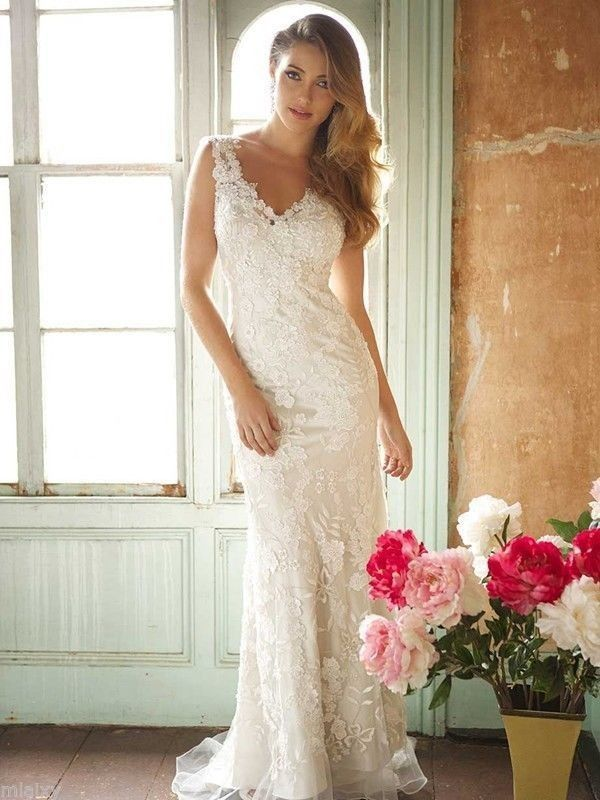 country lace ivory wedding dress | Details about New Sexy lace mermaid V neck white/ivory wedding dress ...
