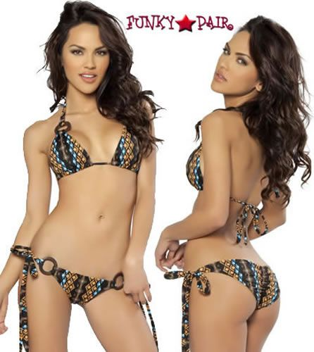Aztec Bikini Set with Wood Rings