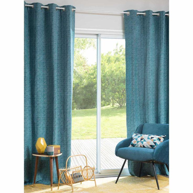 DOWNING blue eyelet curtain 140 x 250 cm