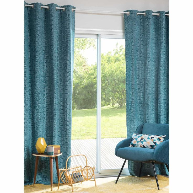 DOWNING blue eyelet curtain 140 x 250 cm