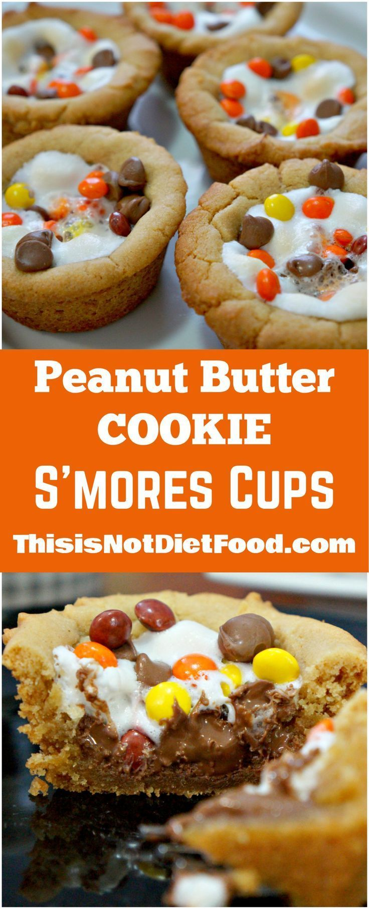 Peanut Butter Cookie S'Mores Cups. Yummy peanut butter cookie cups filled with chocolate chips, marshmallows and mini Reese's Pieces. Easy dessert recipe.