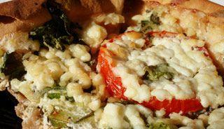 Quiche santé aux blancs d\'oeufs et fromage cottage sur pita