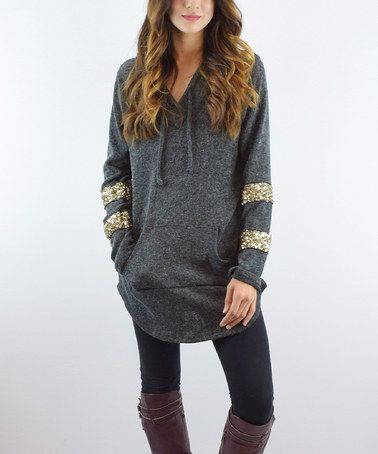 This Charcoal Hooded Sequin Tunic is perfect! #zulilyfinds