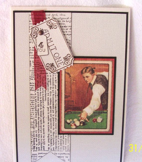 Blank masculine card depicting the game of pool by KayaDoll