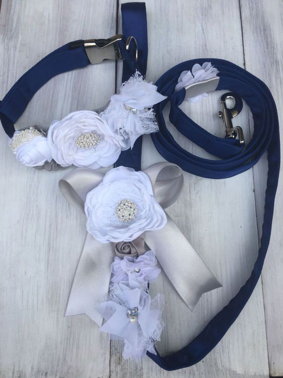 Dog wedding collar and leash set, dog wedding attire, dog wedding collar, dog wedding leash, collar and leash set, wedding dog collar  Handmade satin collar and leash set - includes matching collar and leash set - handmade satin flowers with rhinestones and lace detail. ALL HANDMADE to order just for your special day with great attention to detail---please message me with you color choices. Can be completely customized
