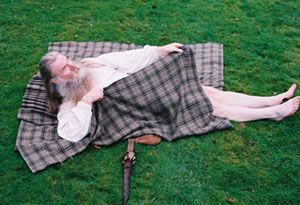"""How to Wrap a Great Kilt- """"All right,"""" he said with resignation. """"Laugh if ye must."""" Getting into a belted plaid wasn't the most dignified thing a man could do, given that the most efficient method was to lie down on the pleated fabric and roll like a sausage on a girdle. Jamie could do it standing up, but then, the man had had practice."""