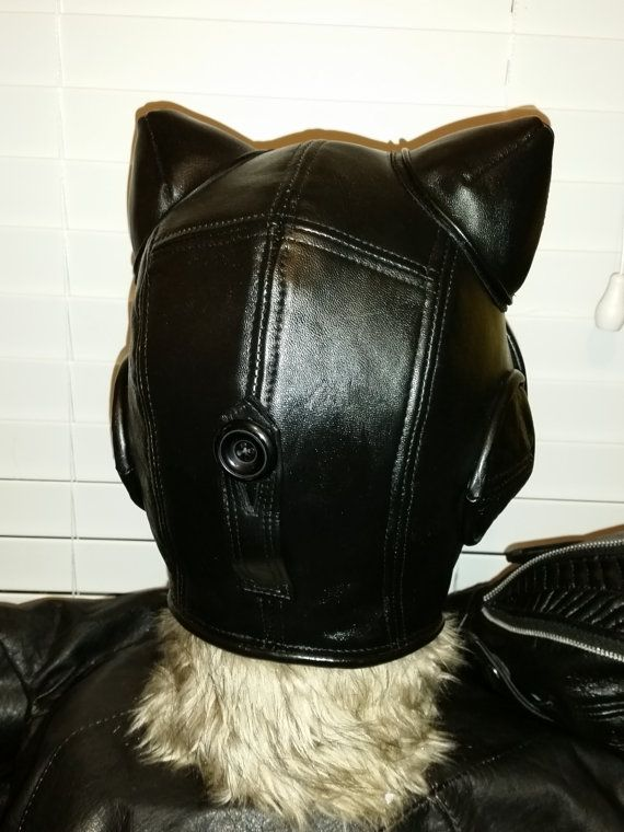 Black Leather Catwoman Aviator Hat Arkham Ears Earcups