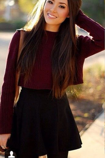 Fashion Round Neck Long Sleeve Knit Sweater Skirt Two-Piece