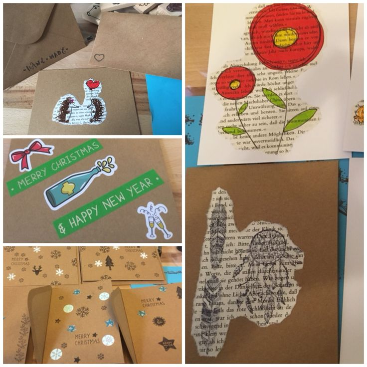 Stempelkarten und Upcycling Papiermotive