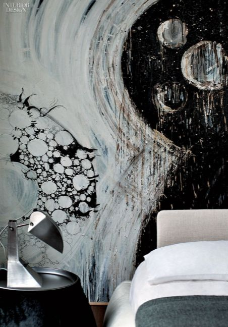 Acrylic Ink And Graphite On Canvas Mural In The Master Bedroom Of Architect Marco Interior Design