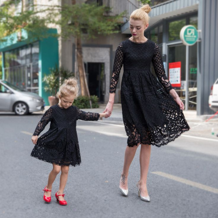 European style Autumn Winter mother daughter dresses casual solid lace style matching mother and daughter clothes for party F25
