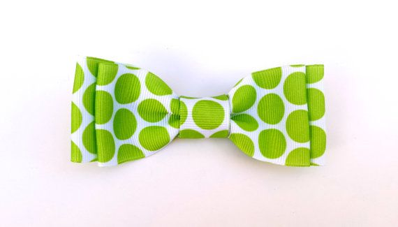 Lime Green Dots  Bow for pets collar by HomeComfortsAndMoore, $5.00