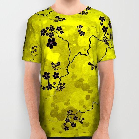Spring Blossom all over print shirt. https://society6.com/product/spring-blossom-3re_all-over-print-shirt #spring #blossom #yellow #sakura #cherryblossom #illustration