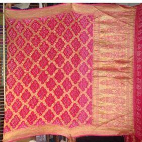 indian roots pink sarees   Banarasi Silk Bandhani Saree