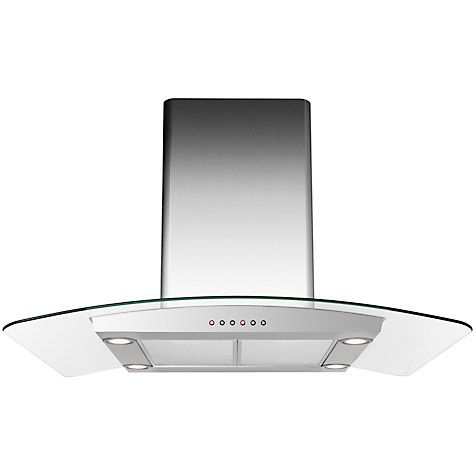 Buy John Lewis JLISHDA901 Island Chimney Cooker Hood, Stainless Steel and Curved Clear Glass Online at johnlewis.com