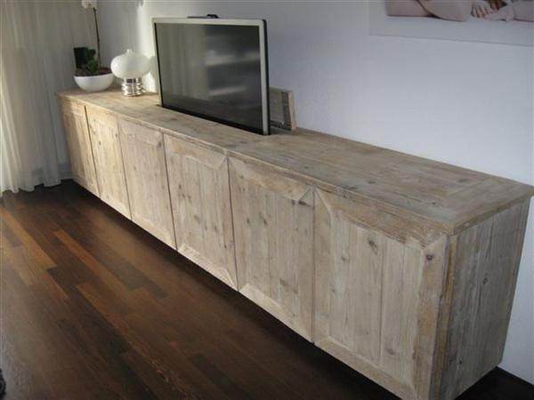 Grote foto mooie steigerhouten tv meubel ook met tv lift. woning inrichting tv meubels